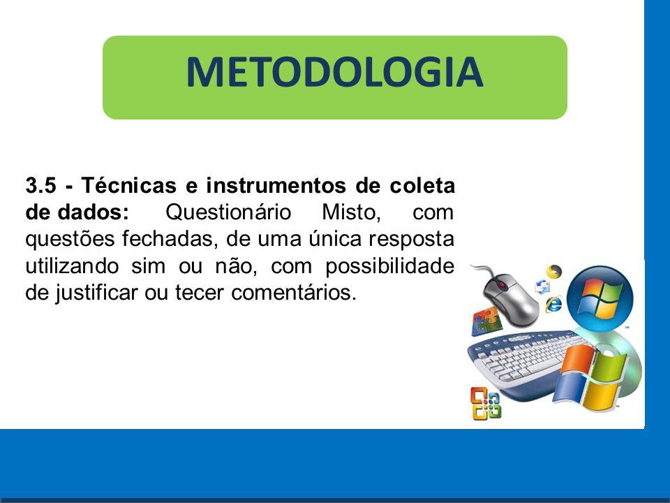 Cursos a Distância em todo o Brasil www.institutoprominas.com.br 0800 283 8380 METODOLOGIA 3.5 - Técnicas e instrumentos de coleta de dados: Questioná