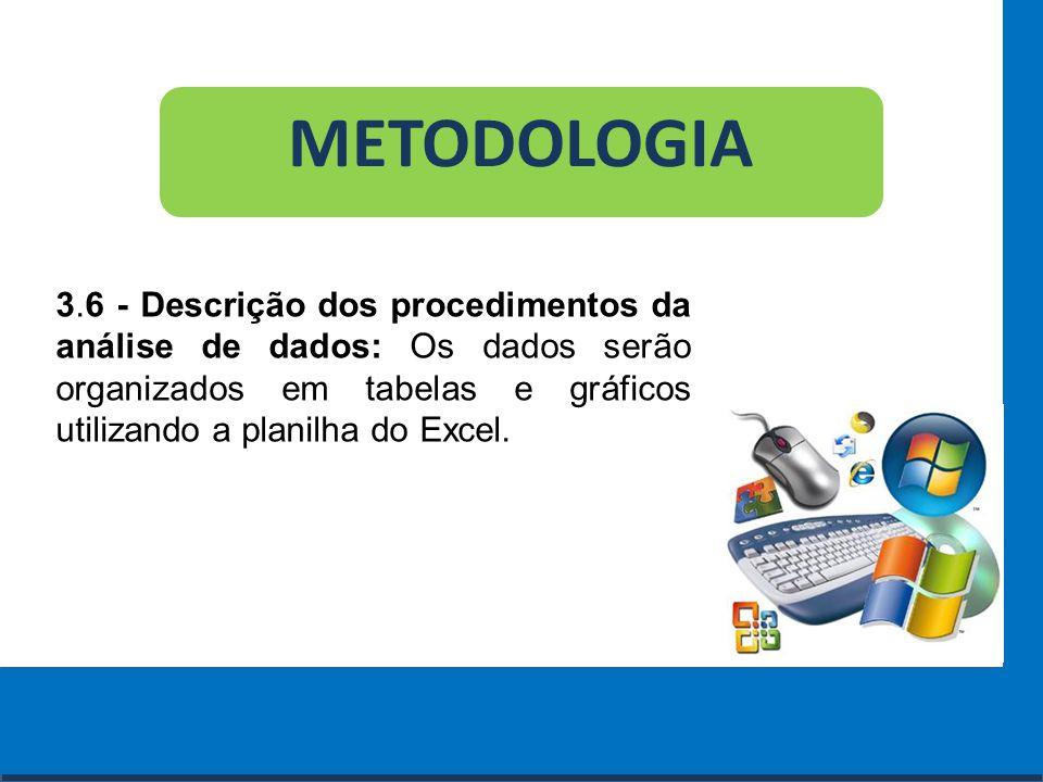 Cursos a Distância em todo o Brasil www.institutoprominas.com.br 0800 283 8380 METODOLOGIA 3.6 - Descrição dos procedimentos da análise de dados: Os d