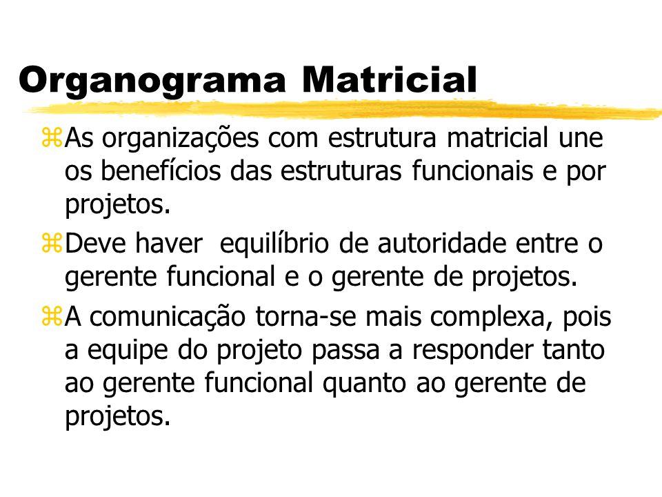 Organograma Matricial zAs organizações com estrutura matricial une os benefícios das estruturas funcionais e por projetos. zDeve haver equilíbrio de a
