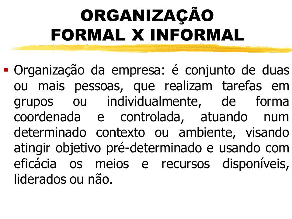 ORGANIZAÇÃO FORMAL X INFORMAL  Organização da empresa: é conjunto de duas ou mais pessoas, que realizam tarefas em grupos ou individualmente, de form