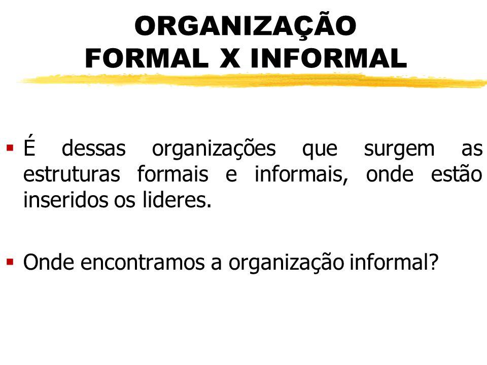ORGANIZAÇÃO FORMAL X INFORMAL  É dessas organizações que surgem as estruturas formais e informais, onde estão inseridos os lideres.  Onde encontramo