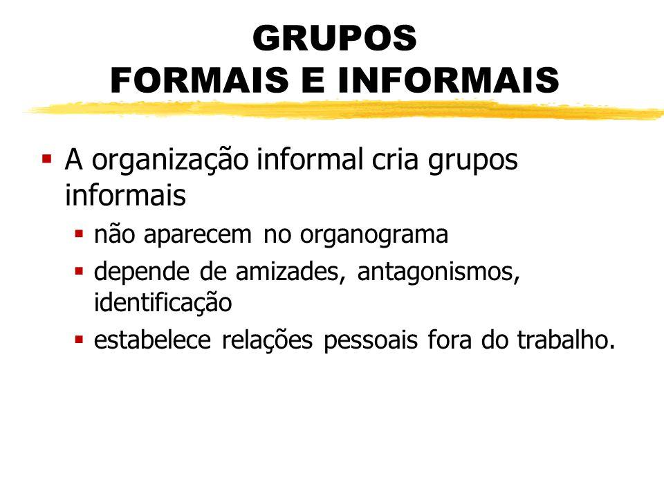 GRUPOS FORMAIS E INFORMAIS  A organização informal cria grupos informais  não aparecem no organograma  depende de amizades, antagonismos, identific