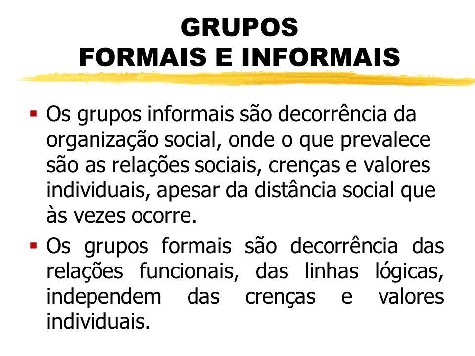 GRUPOS FORMAIS E INFORMAIS  Os grupos informais são decorrência da organização social, onde o que prevalece são as relações sociais, crenças e valore