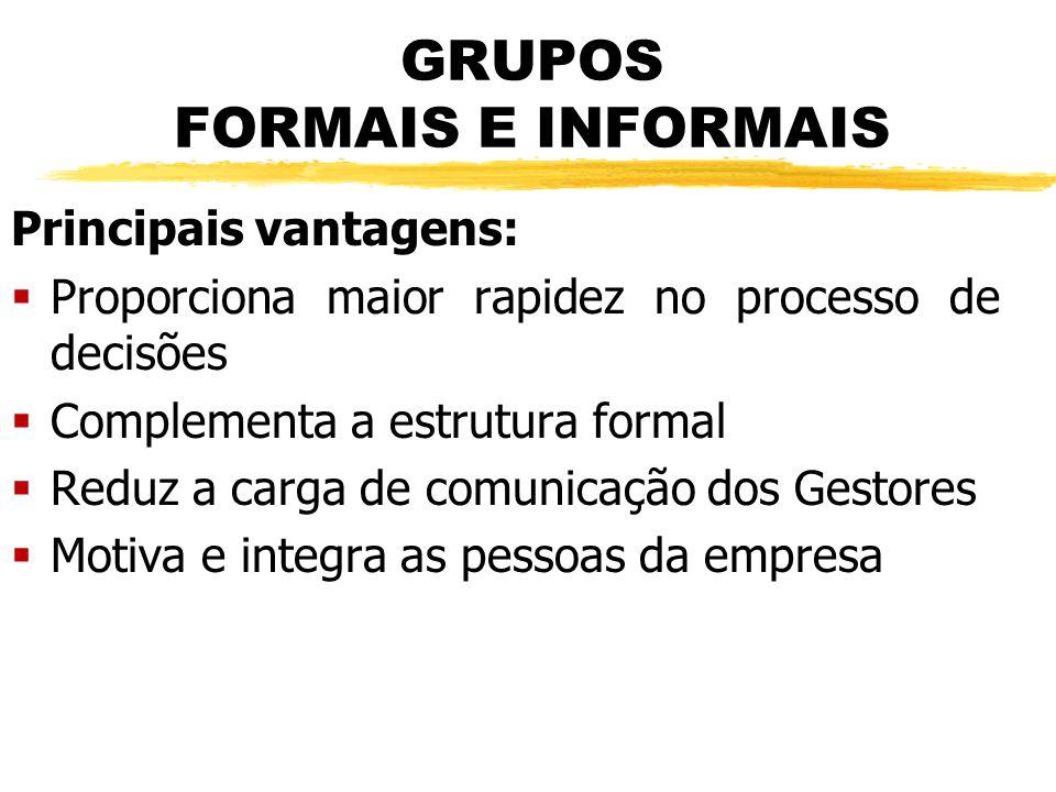 GRUPOS FORMAIS E INFORMAIS Principais vantagens:  Proporciona maior rapidez no processo de decisões  Complementa a estrutura formal  Reduz a carga