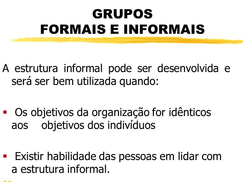 GRUPOS FORMAIS E INFORMAIS A estrutura informal pode ser desenvolvida e será ser bem utilizada quando:  Os objetivos da organização for idênticos aos