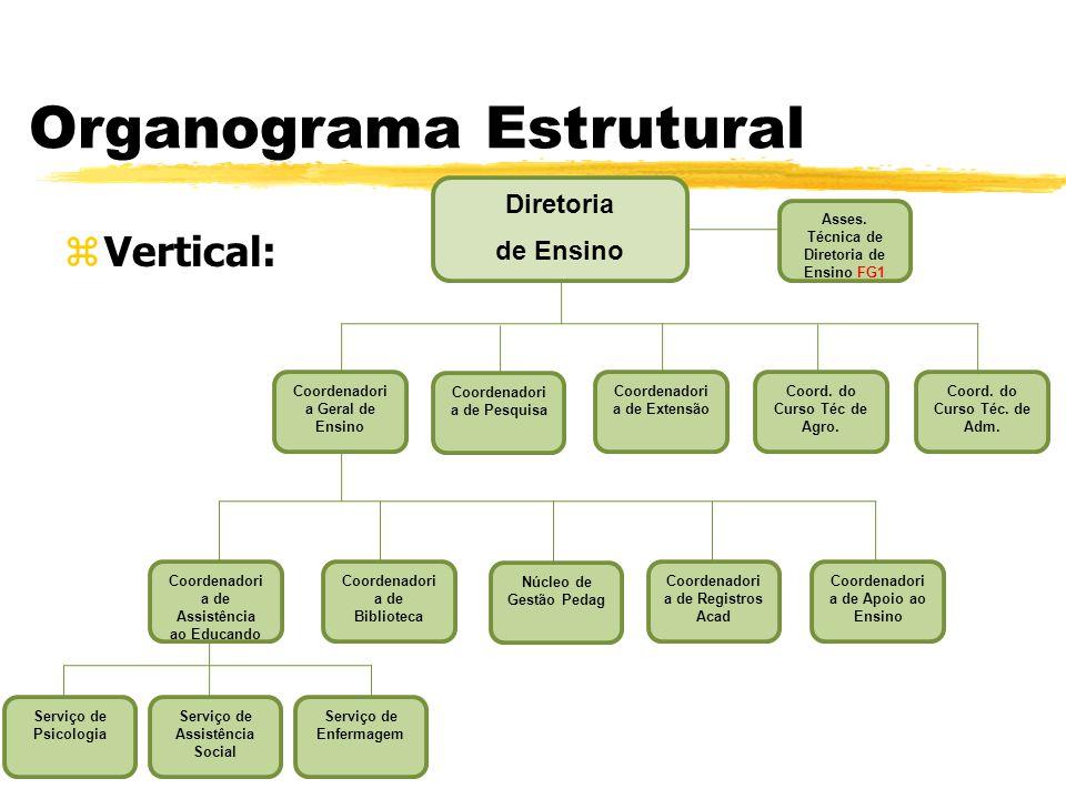 Organograma Estrutural zHorizontal: zÉ um modelo adotado por empresas que querem simplificar as relações internas, diminuindo as barreiras entre a alta direção e o restante da equipe; zComo a hierarquia é menor e as decisões precisam ser tomadas com mais agilidade.