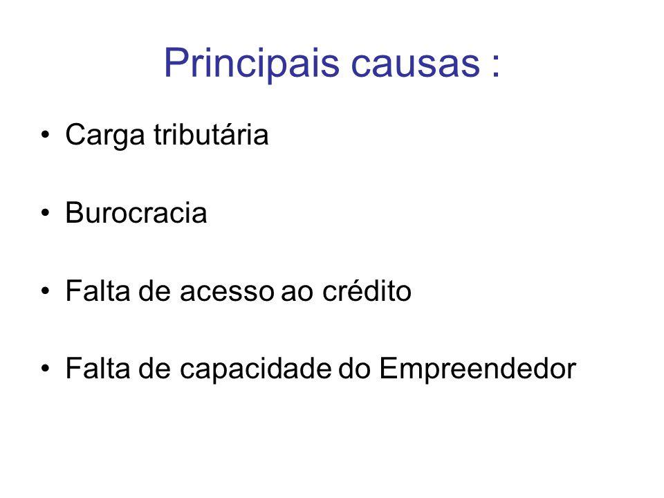 Principais causas : Carga tributária Burocracia Falta de acesso ao crédito Falta de capacidade do Empreendedor