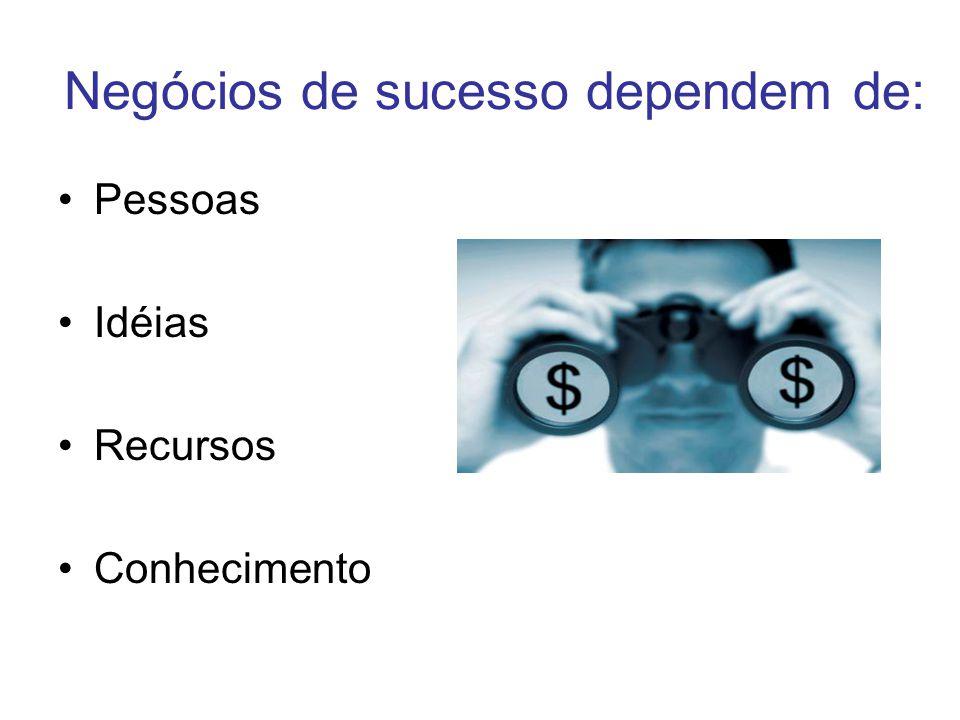 Negócios de sucesso dependem de: Pessoas Idéias Recursos Conhecimento