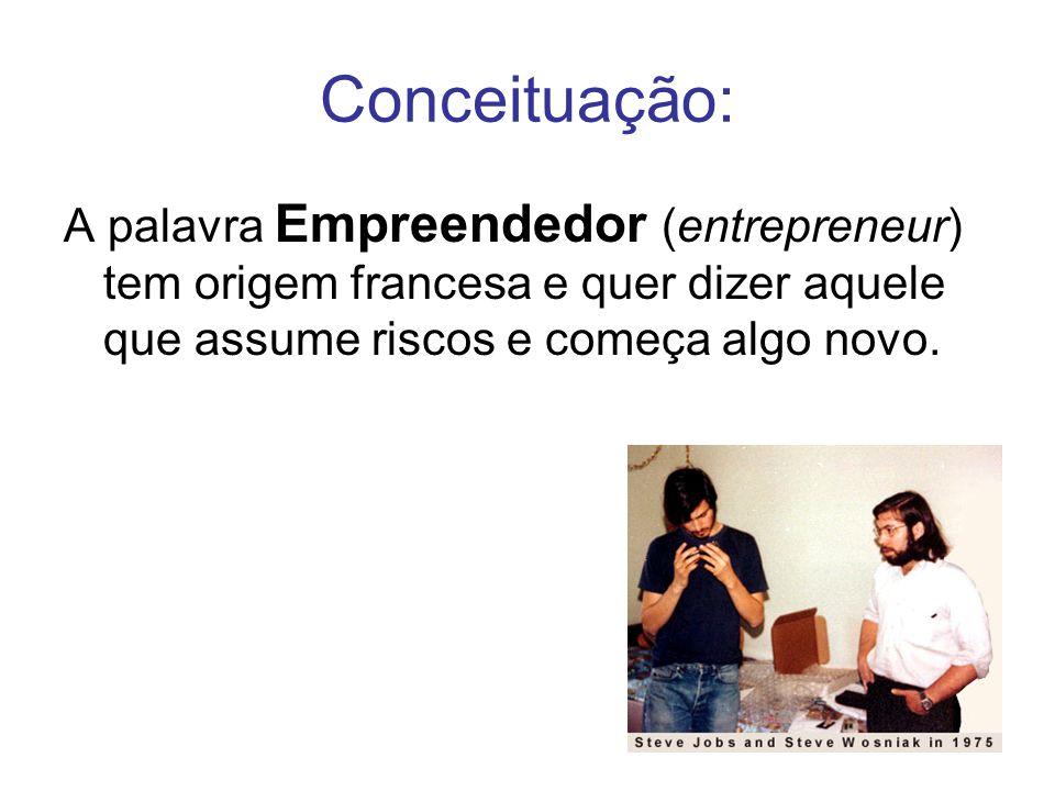 Conceituação: A palavra Empreendedor (entrepreneur) tem origem francesa e quer dizer aquele que assume riscos e começa algo novo.
