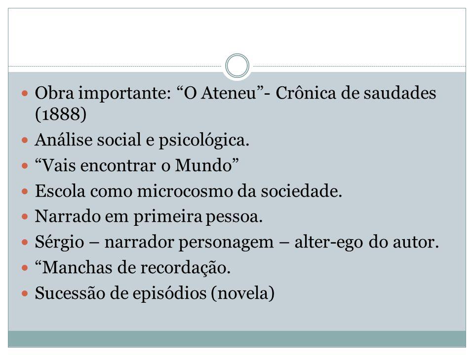 """Obra importante: """"O Ateneu""""- Crônica de saudades (1888) Análise social e psicológica. """"Vais encontrar o Mundo"""" Escola como microcosmo da sociedade. Na"""