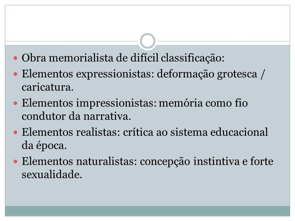 Obra memorialista de difícil classificação: Elementos expressionistas: deformação grotesca / caricatura. Elementos impressionistas: memória como fio c