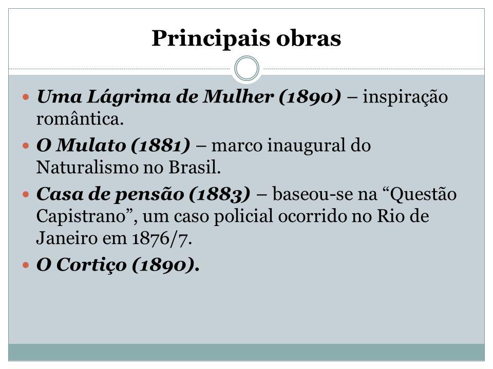 Principais obras Uma Lágrima de Mulher (1890) – inspiração romântica. O Mulato (1881) – marco inaugural do Naturalismo no Brasil. Casa de pensão (1883