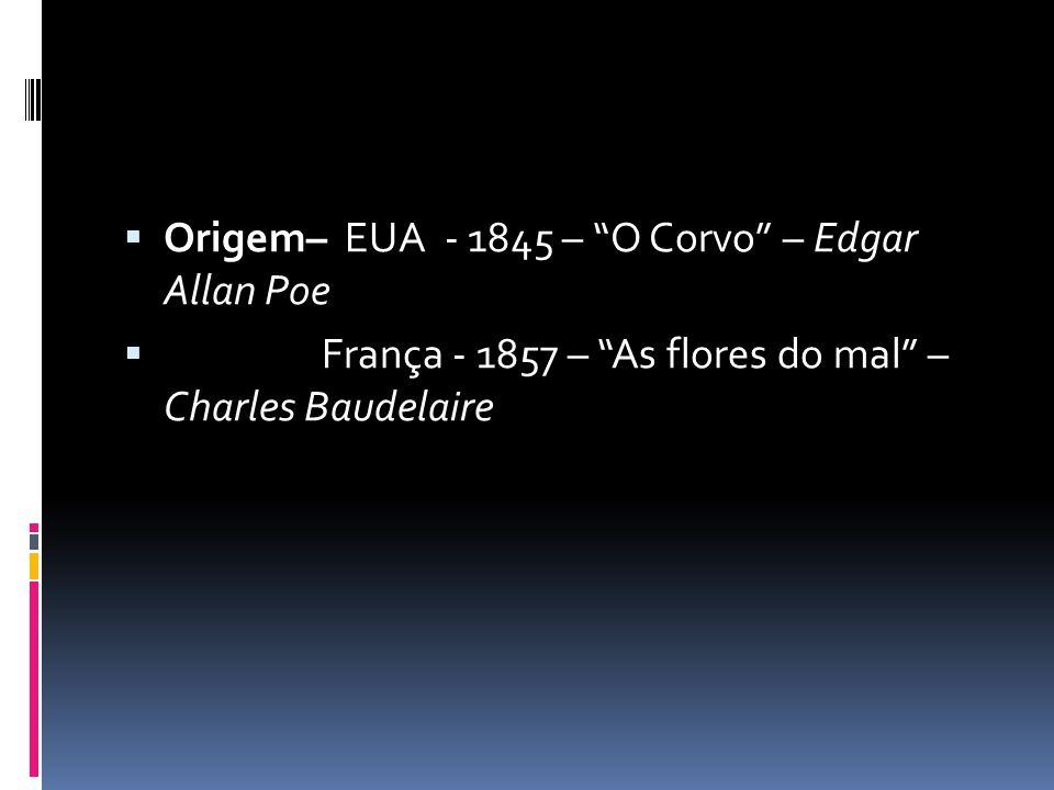  Origem– EUA - 1845 – O Corvo – Edgar Allan Poe  França - 1857 – As flores do mal – Charles Baudelaire