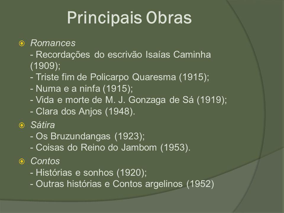 Principais Obras  Romances - Recordações do escrivão Isaías Caminha (1909); - Triste fim de Policarpo Quaresma (1915); - Numa e a ninfa (1915); - Vid