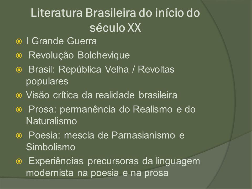 Literatura Brasileira do início do século XX  I Grande Guerra  Revolução Bolchevique  Brasil: República Velha / Revoltas populares  Visão crítica