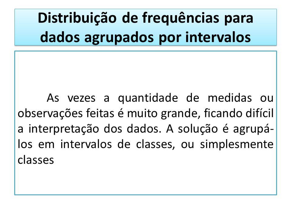 Distribuição de frequências para dados agrupados por intervalos As vezes a quantidade de medidas ou observações feitas é muito grande, ficando difícil a interpretação dos dados.