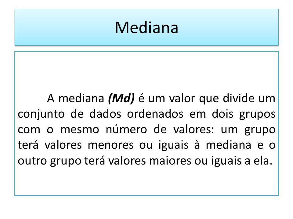 Mediana A mediana (Md) é um valor que divide um conjunto de dados ordenados em dois grupos com o mesmo número de valores: um grupo terá valores menores ou iguais à mediana e o outro grupo terá valores maiores ou iguais a ela.