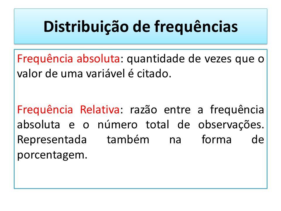 Distribuição de frequências Frequência absoluta: quantidade de vezes que o valor de uma variável é citado.