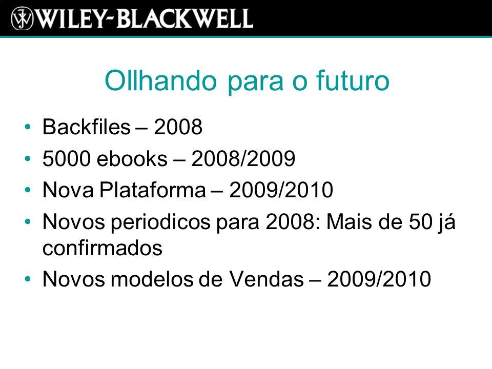 Ollhando para o futuro Backfiles – 2008 5000 ebooks – 2008/2009 Nova Plataforma – 2009/2010 Novos periodicos para 2008: Mais de 50 já confirmados Novos modelos de Vendas – 2009/2010