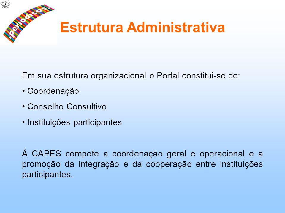 Em sua estrutura organizacional o Portal constitui-se de: Coordenação Conselho Consultivo Instituições participantes À CAPES compete a coordenação ger