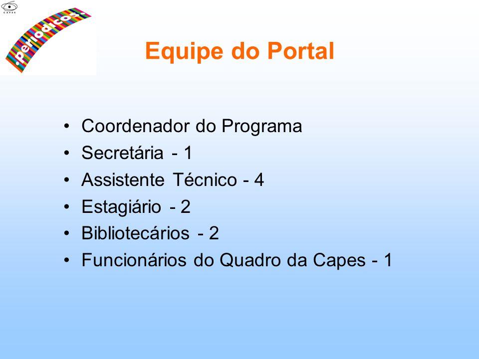 Equipe do Portal Coordenador do Programa Secretária - 1 Assistente Técnico - 4 Estagiário - 2 Bibliotecários - 2 Funcionários do Quadro da Capes - 1