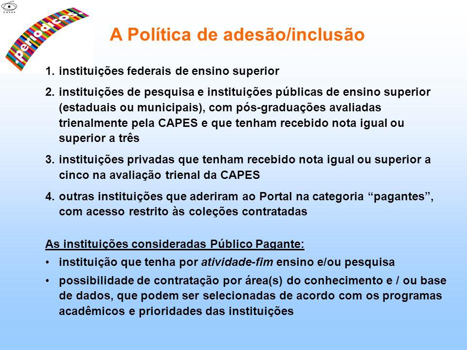 1.instituições federais de ensino superior 2.instituições de pesquisa e instituições públicas de ensino superior (estaduais ou municipais), com pós-gr