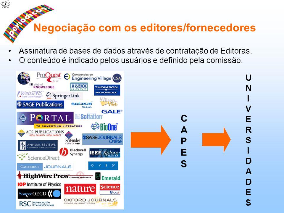 Assinatura de bases de dados através de contratação de Editoras. O conteúdo é indicado pelos usuários e definido pela comissão. CAPESCAPES UNIVERSIDAD