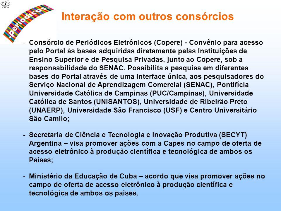 -Consórcio de Periódicos Eletrônicos (Copere) - Convênio para acesso pelo Portal às bases adquiridas diretamente pelas Instituições de Ensino Superior