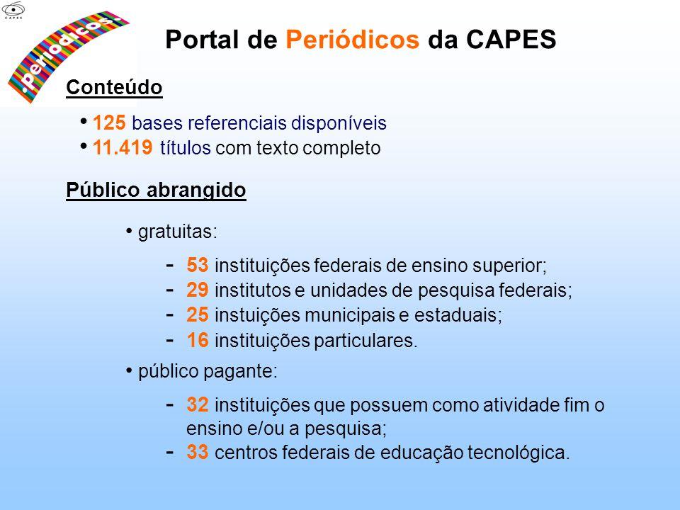 Portal de Periódicos da CAPES Conteúdo 125 bases referenciais disponíveis 11.419 títulos com texto completo Público abrangido gratuitas: - 53 institui