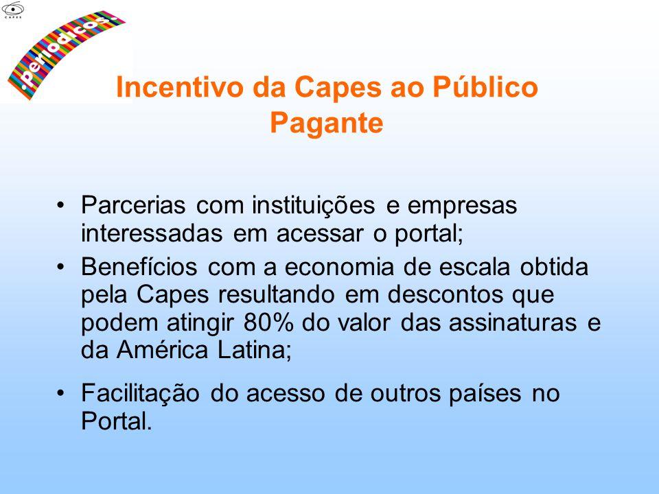 Parcerias com instituições e empresas interessadas em acessar o portal; Benefícios com a economia de escala obtida pela Capes resultando em descontos