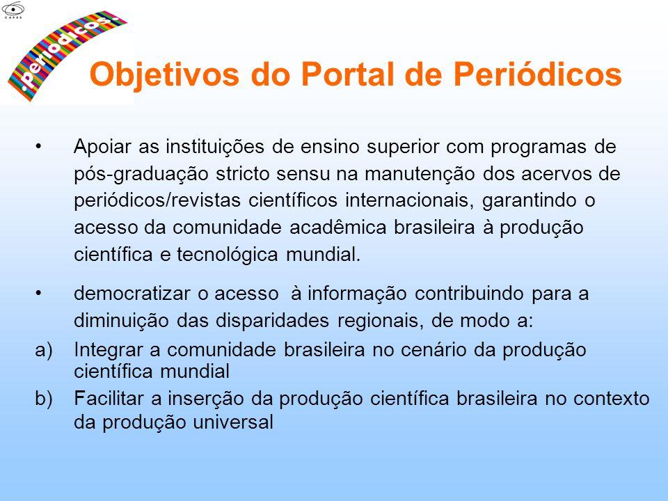 Objetivos do Portal de Periódicos Apoiar as instituições de ensino superior com programas de pós-graduação stricto sensu na manutenção dos acervos de