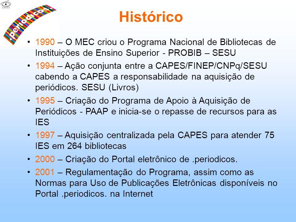 Histórico 1990 – O MEC criou o Programa Nacional de Bibliotecas de Instituições de Ensino Superior - PROBIB – SESU 1994 – Ação conjunta entre a CAPES/