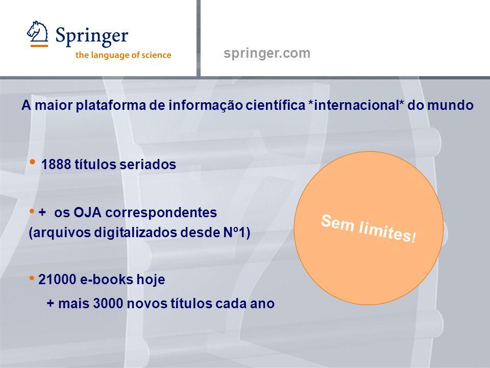 springer.com 1888 títulos seriados + os OJA correspondentes (arquivos digitalizados desde Nº1) 21000 e-books hoje + mais 3000 novos títulos cada ano Sem limites .