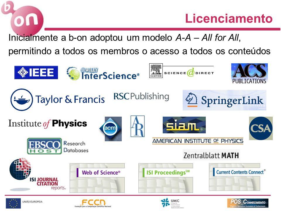 Inicialmente a b-on adoptou um modelo A-A – All for All, permitindo a todos os membros o acesso a todos os conteúdos Licenciamento