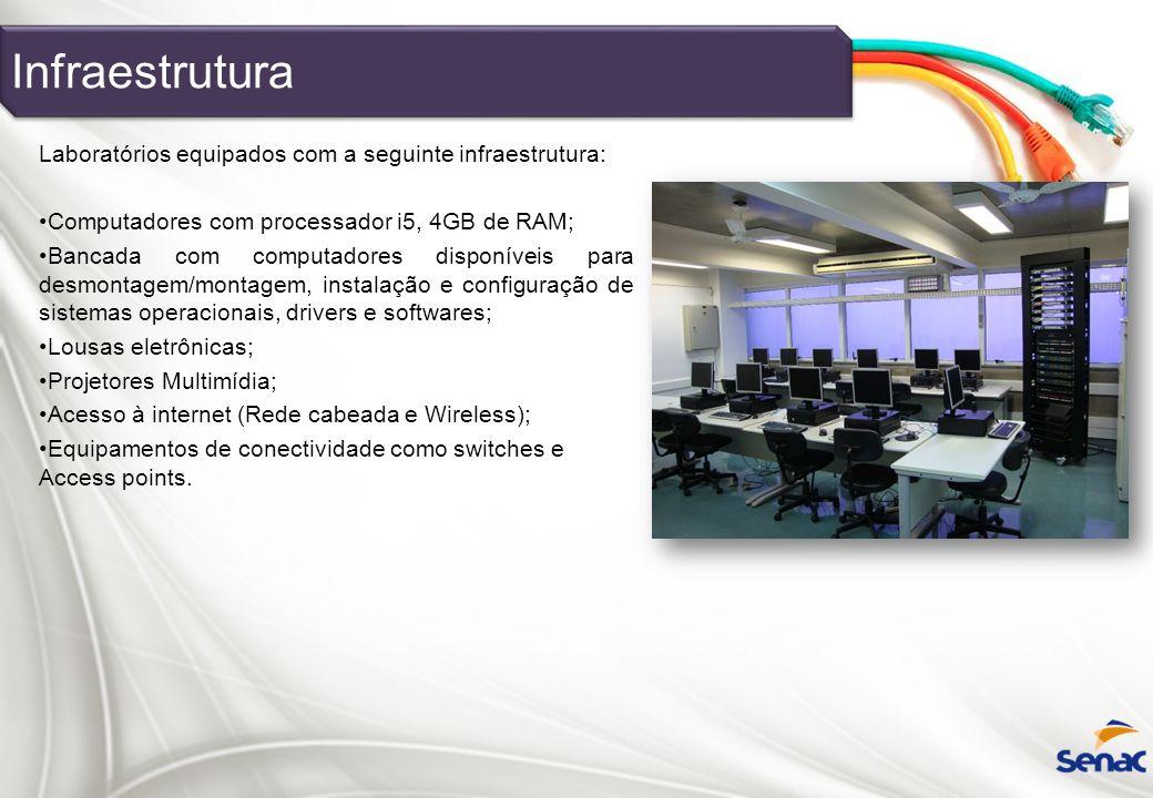 Laboratórios equipados com a seguinte infraestrutura: Computadores com processador i5, 4GB de RAM; Bancada com computadores disponíveis para desmontag