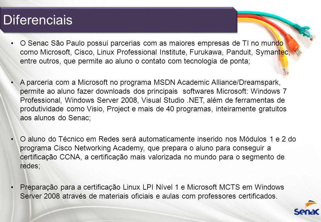 Diferenciais O Senac São Paulo possui parcerias com as maiores empresas de TI no mundo como Microsoft, Cisco, Linux Professional Institute, Furukawa,