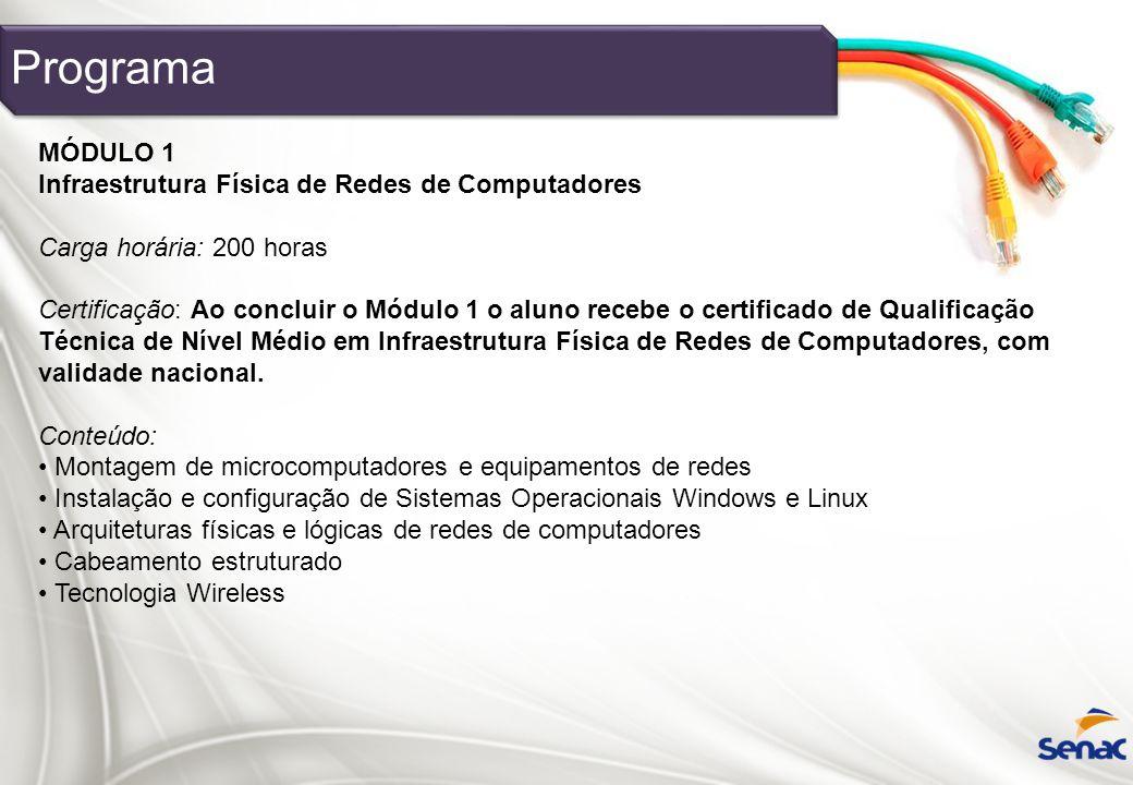 Programa MÓDULO 1 Infraestrutura Física de Redes de Computadores Carga horária: 200 horas Certificação: Ao concluir o Módulo 1 o aluno recebe o certif
