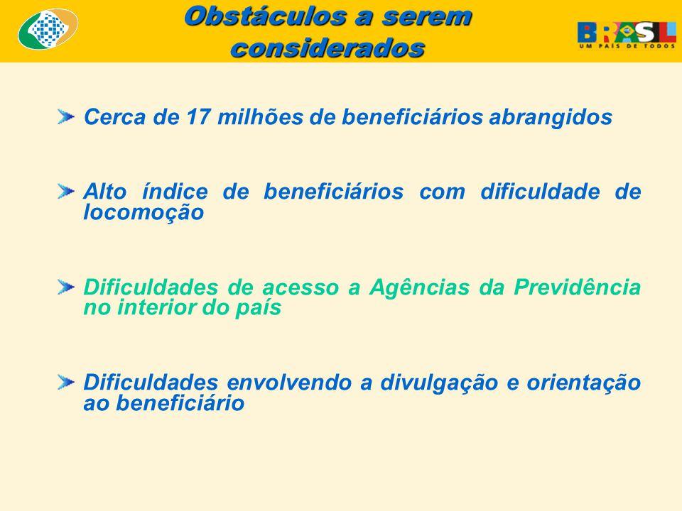 Obstáculos a serem considerados Cerca de 17 milhões de beneficiários abrangidos Alto índice de beneficiários com dificuldade de locomoção Dificuldades de acesso a Agências da Previdência no interior do país Dificuldades envolvendo a divulgação e orientação ao beneficiário