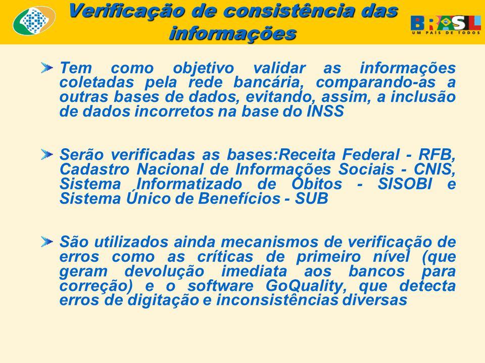 Verificação de consistência das informações Tem como objetivo validar as informações coletadas pela rede bancária, comparando-as a outras bases de dados, evitando, assim, a inclusão de dados incorretos na base do INSS Serão verificadas as bases:Receita Federal - RFB, Cadastro Nacional de Informações Sociais - CNIS, Sistema Informatizado de Óbitos - SISOBI e Sistema Único de Benefícios - SUB São utilizados ainda mecanismos de verificação de erros como as críticas de primeiro nível (que geram devolução imediata aos bancos para correção) e o software GoQuality, que detecta erros de digitação e inconsistências diversas