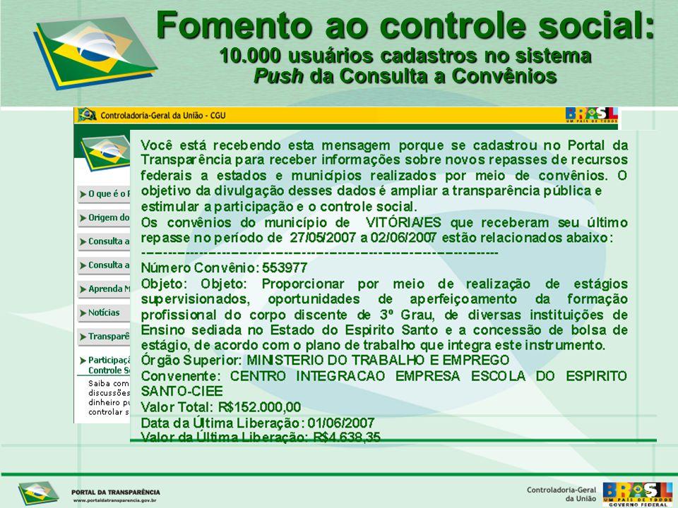 Controladoria-Geral da União Fomento ao controle social: 10.000 usuários cadastros no sistema Push da Consulta a Convênios