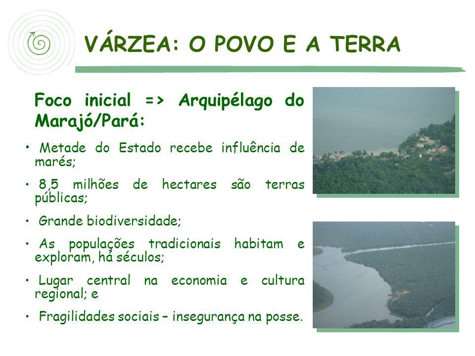 Foco inicial => Arquipélago do Marajó/Pará: Metade do Estado recebe influência de marés; 8,5 milhões de hectares são terras públicas; Grande biodivers