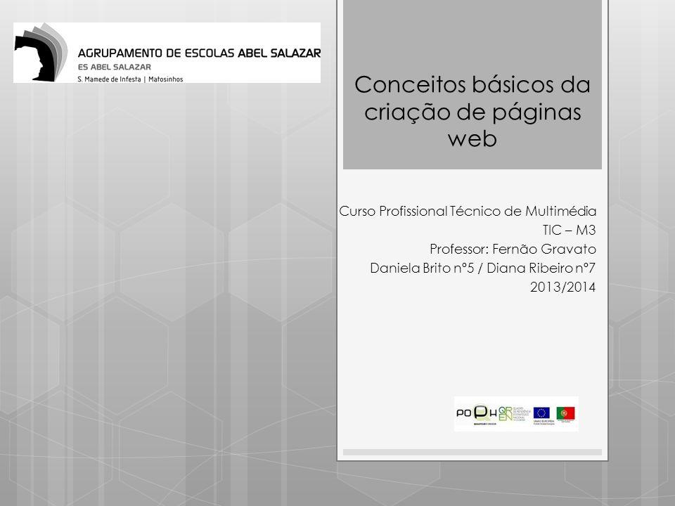 Curso Profissional Técnico de Multimédia TIC – M3 Professor: Fernão Gravato Daniela Brito nº5 / Diana Ribeiro nº7 2013/2014 Conceitos básicos da criaç