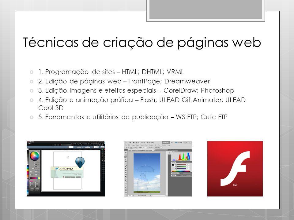 Técnicas de criação de páginas web  1. Programação de sites – HTML; DHTML; VRML  2. Edição de páginas web – FrontPage; Dreamweaver  3. Edição Image