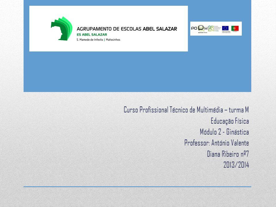 Curso Profissional Técnico de Multimédia – turma M Educação Física Módulo 2 - Ginástica Professor: António Valente Diana Ribeiro nº7 2013/2014