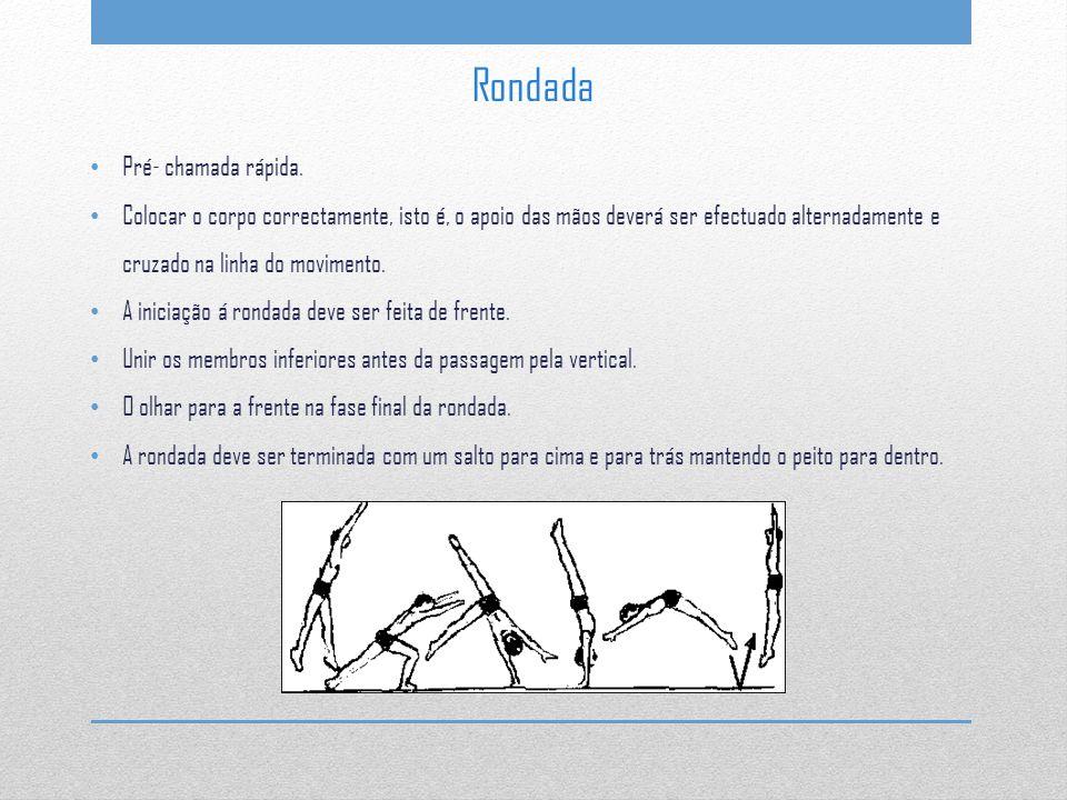Pré- chamada rápida. Colocar o corpo correctamente, isto é, o apoio das mãos deverá ser efectuado alternadamente e cruzado na linha do movimento. A in