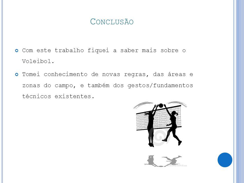 C ONCLUSÃO Com este trabalho fiquei a saber mais sobre o Voleibol.