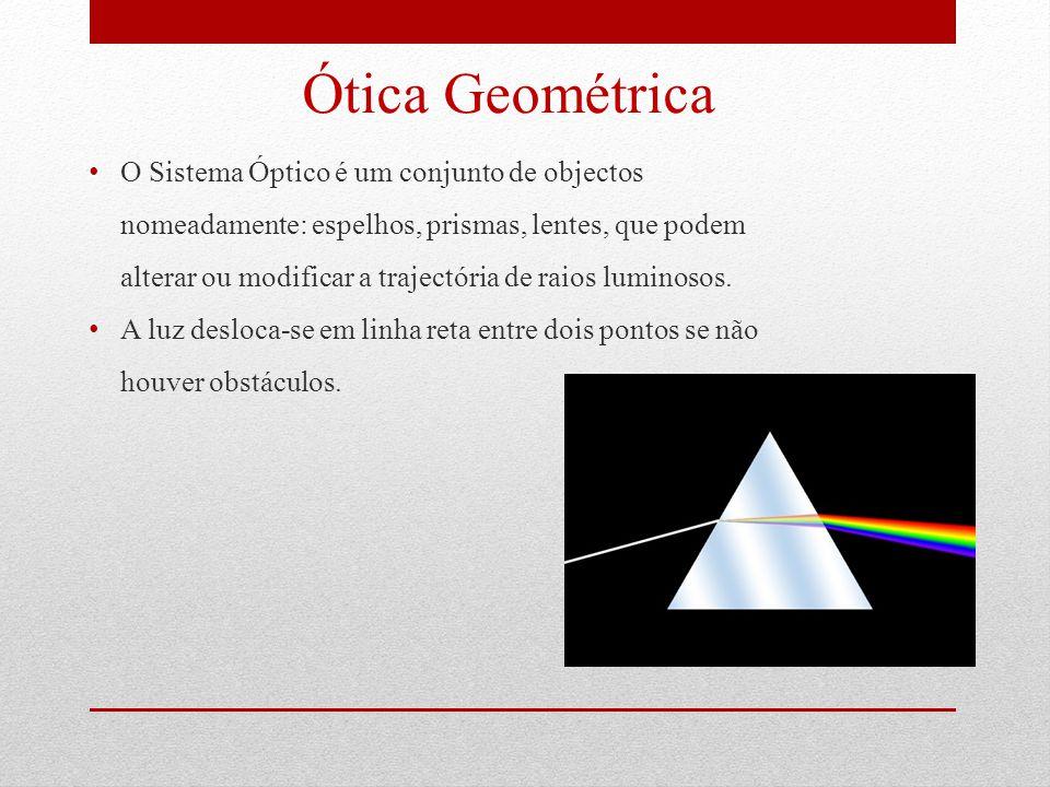 Ótica Geométrica O Sistema Óptico é um conjunto de objectos nomeadamente: espelhos, prismas, lentes, que podem alterar ou modificar a trajectória de raios luminosos.