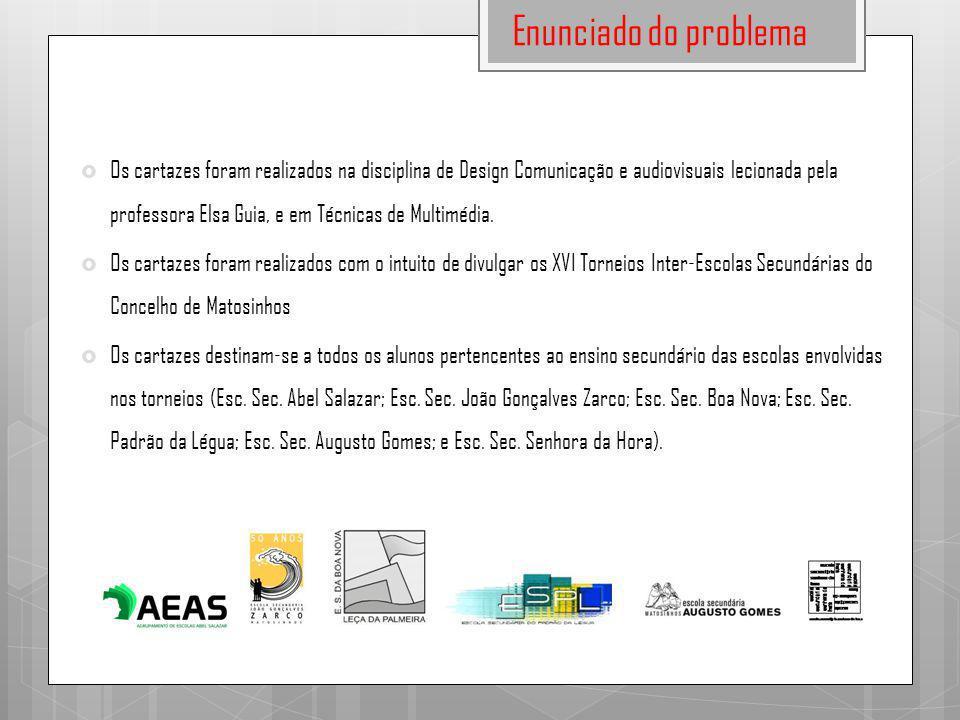 Enunciado do problema  Os cartazes foram realizados na disciplina de Design Comunicação e audiovisuais lecionada pela professora Elsa Guia, e em Técn