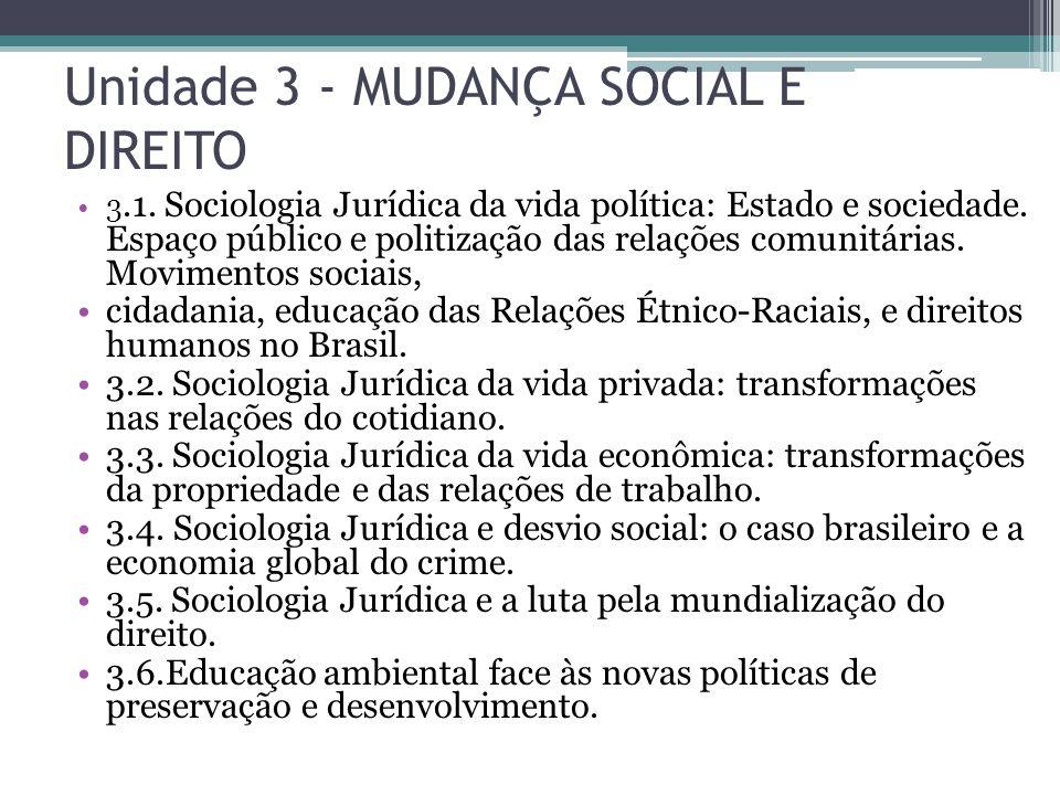 Unidade 3 - MUDANÇA SOCIAL E DIREITO 3.1. Sociologia Jurídica da vida política: Estado e sociedade. Espaço público e politização das relações comunitá