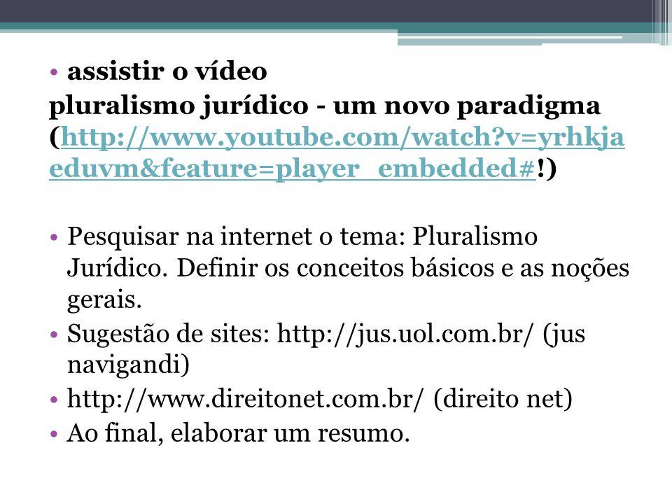 assistir o vídeo pluralismo jurídico - um novo paradigma (http://www.youtube.com/watch?v=yrhkja eduvm&feature=player_embedded#!)http://www.youtube.com/watch?v=yrhkja eduvm&feature=player_embedded# Pesquisar na internet o tema: Pluralismo Jurídico.